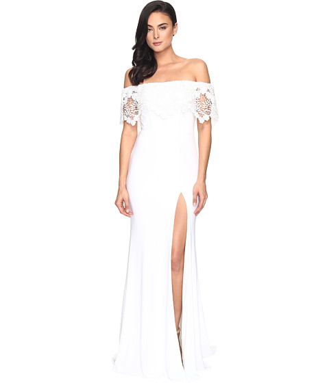 Faviana Jersey Off Shoulder w/ Lace Band S7937 - Ivory