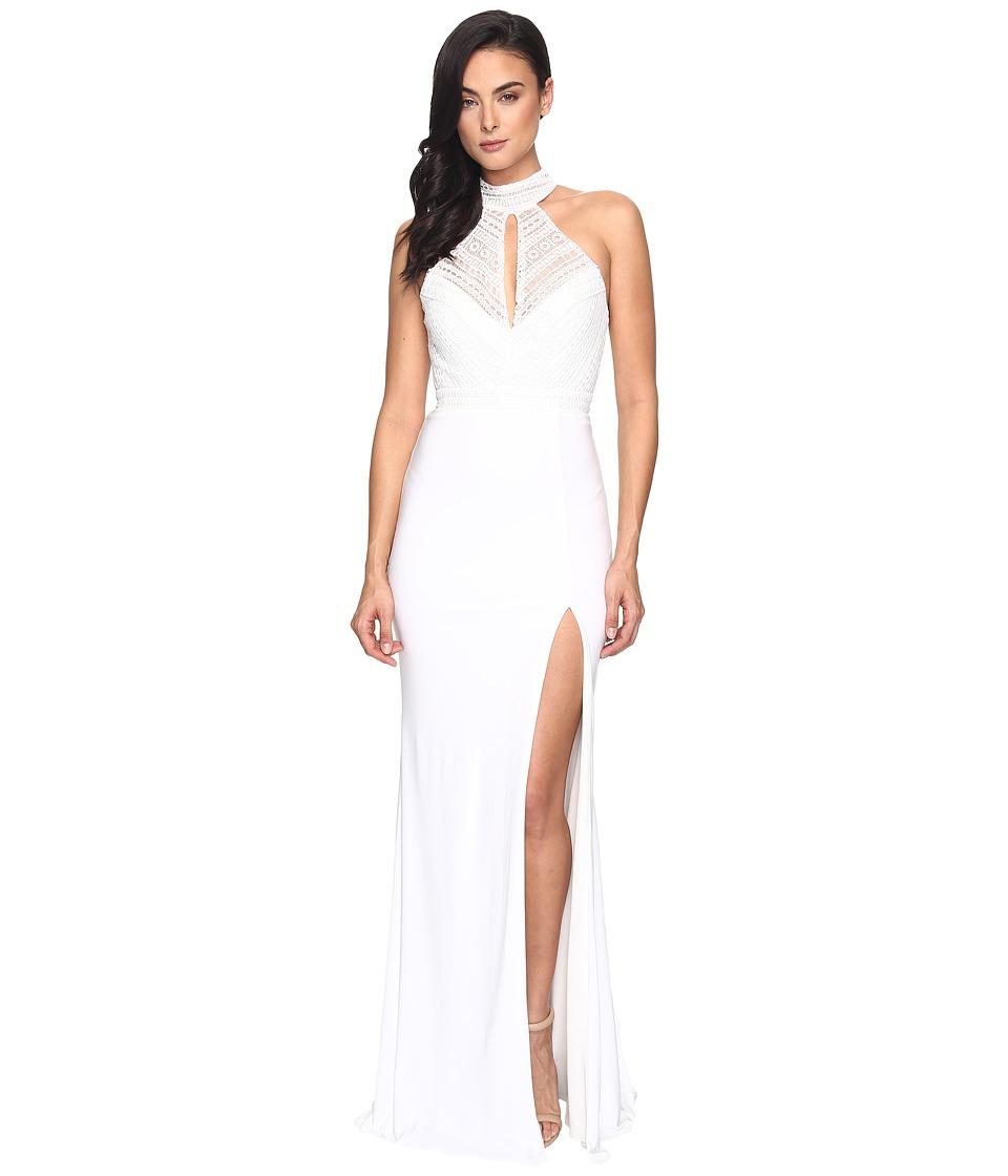 Faviana Lace Halter w/ Keyhole Jersey Skirt S7932 (Ivory) Women