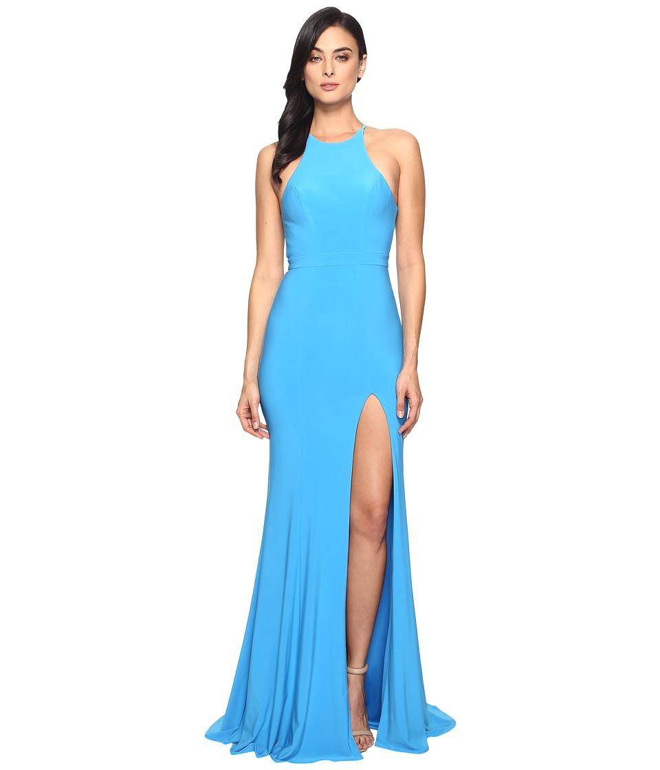 Faviana Jersey Halter w/ Back Cut Out 7976 (Sea Blue) Women