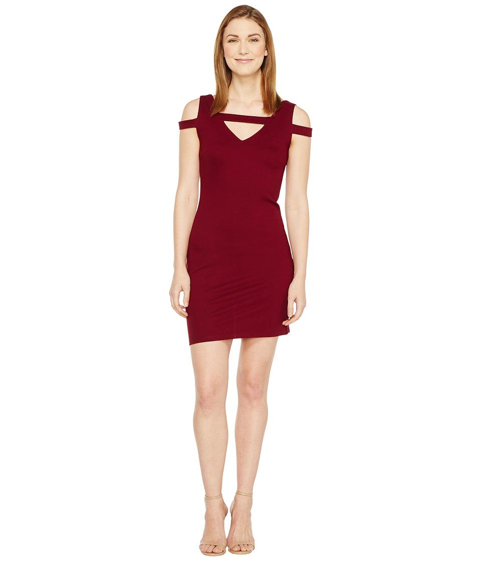 Christin Michaels Galia Strappy Bodycon Dress (Burgundy) Women