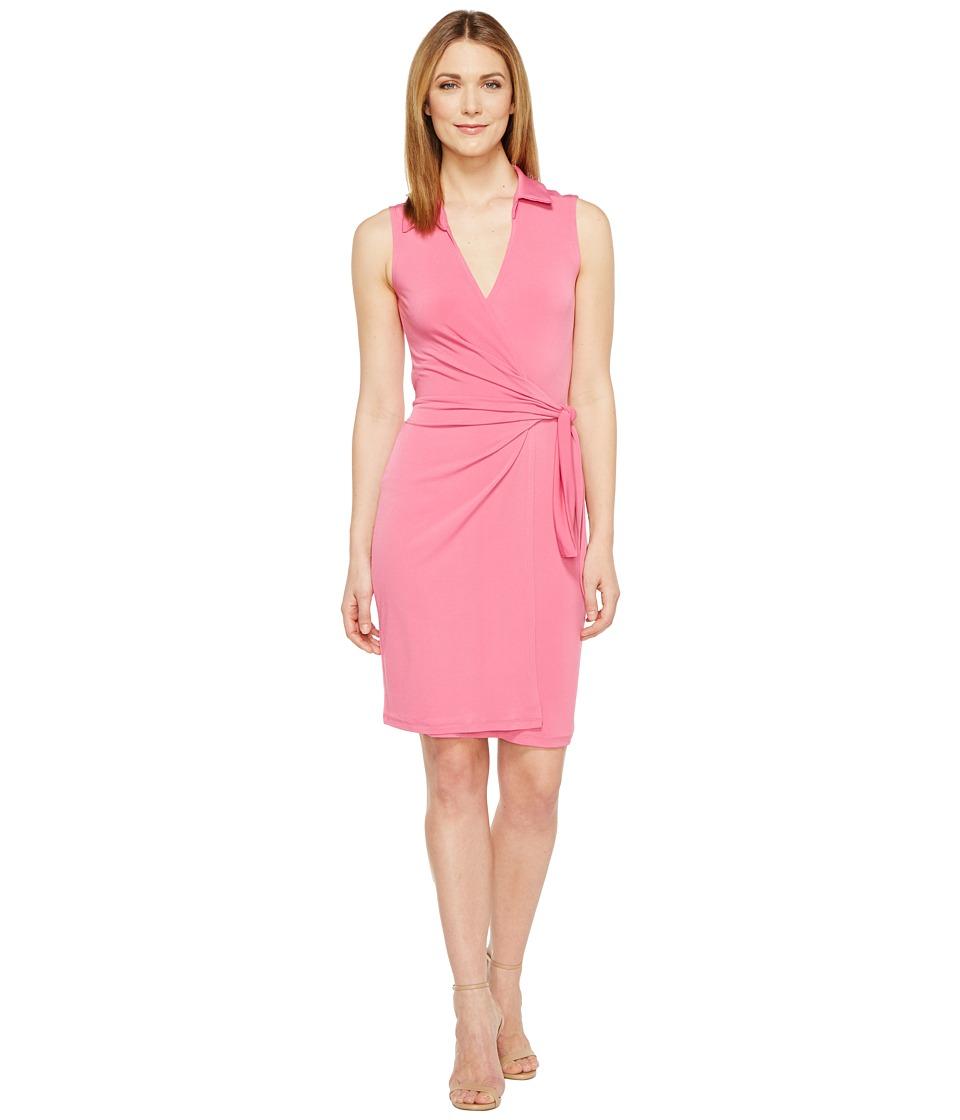 Christin Michaels Gracy Sleeveless Wrap Dress with Collar (Fuchsia) Women