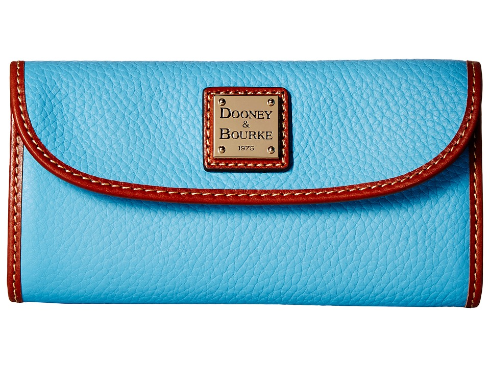 Dooney & Bourke Pebble Continental Clutch (Light Blue/Tan Trim) Clutch Handbags