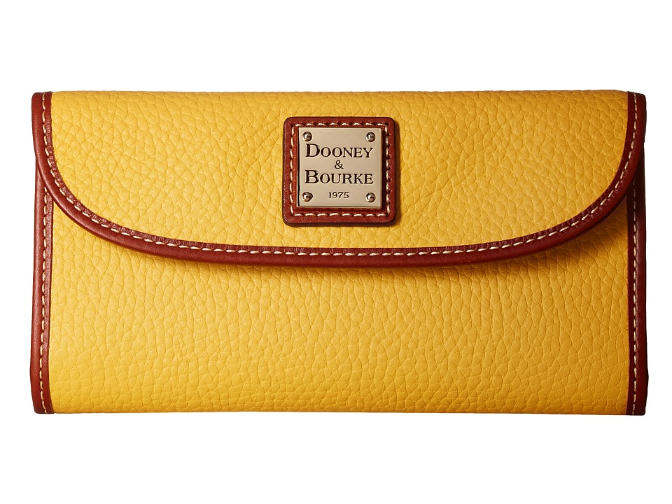 Dooney & Bourke Pebble Continental Clutch (Dandelion/Tan Trim) Clutch Handbags