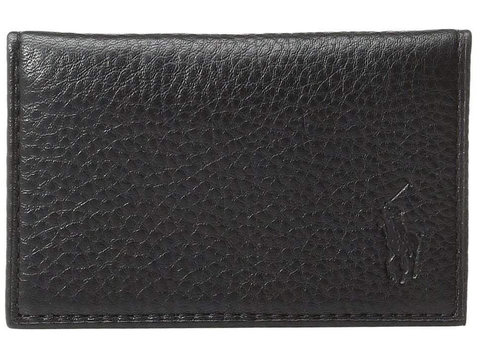 Ralph Lauren Pebble Leather Slim Card Id (Black) Credit c...