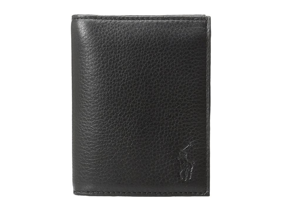 Ralph Lauren Pebble Leather Billfold w/ Window (Black) Bi...
