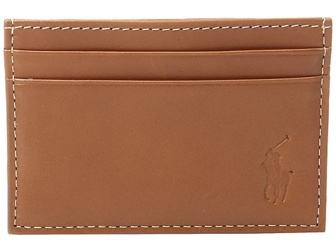 Polo Ralph Lauren Calf Leather Card Case w/ Money Clip - Brown