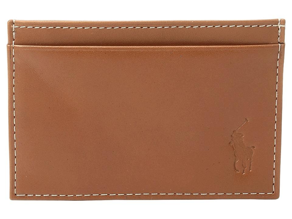 Ralph Lauren Calf Leather Slim Card Case (Brown) Credit c...
