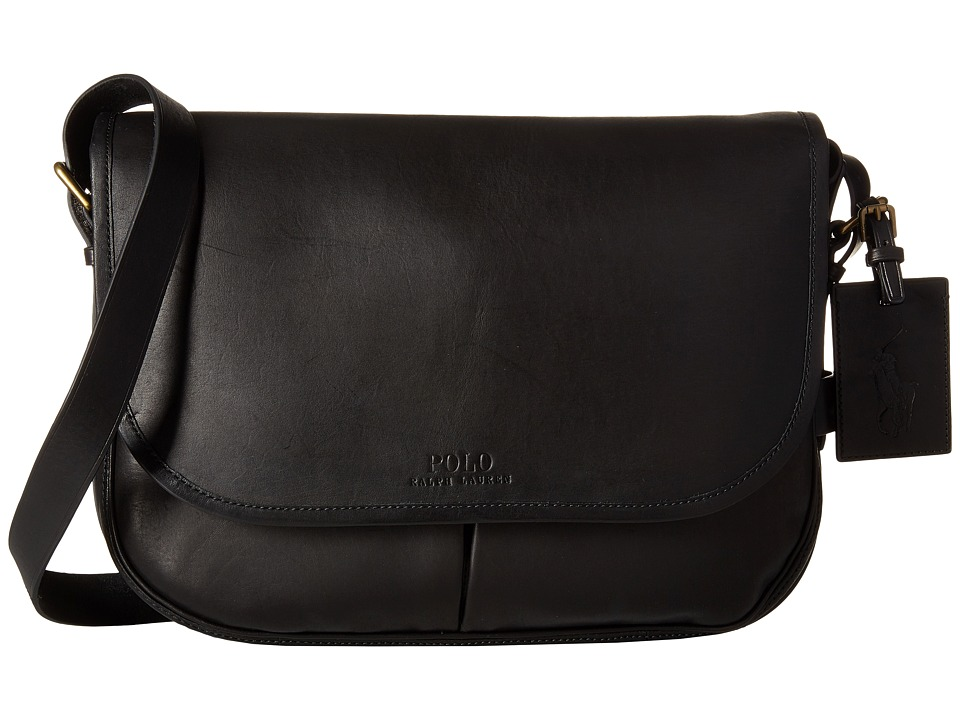 Polo Ralph Lauren Core Leather Messenger (Black) Messenger Bags