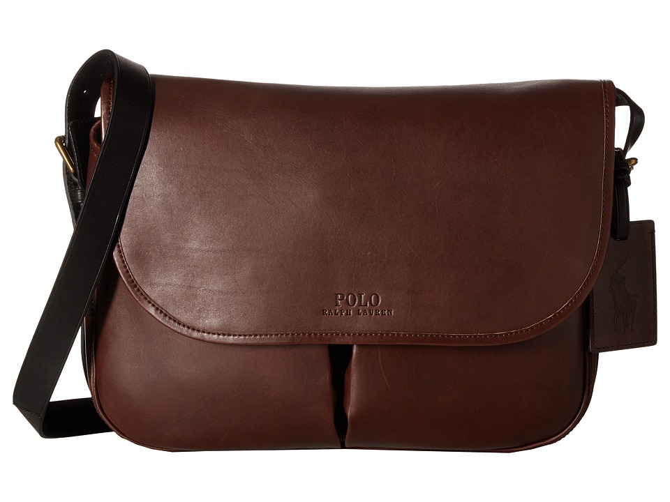 Polo Ralph Lauren Core Leather Messenger (Mahogany/Black) Messenger Bags