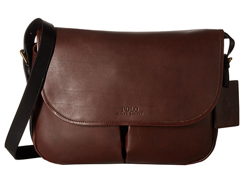 Polo Ralph Lauren Core Leather Messenger - Mahogany/Black