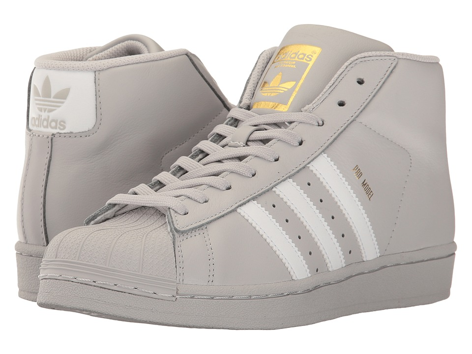 adidas Originals Kids Pro Model (Big Kid) (Light Solid Grey/White/Gold) Boys Shoes