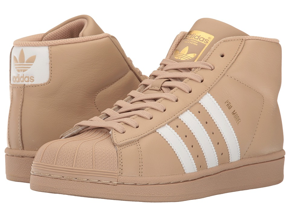 adidas Originals Kids Pro Model (Big Kid) (Linen Khaki/White/Gold) Boys Shoes