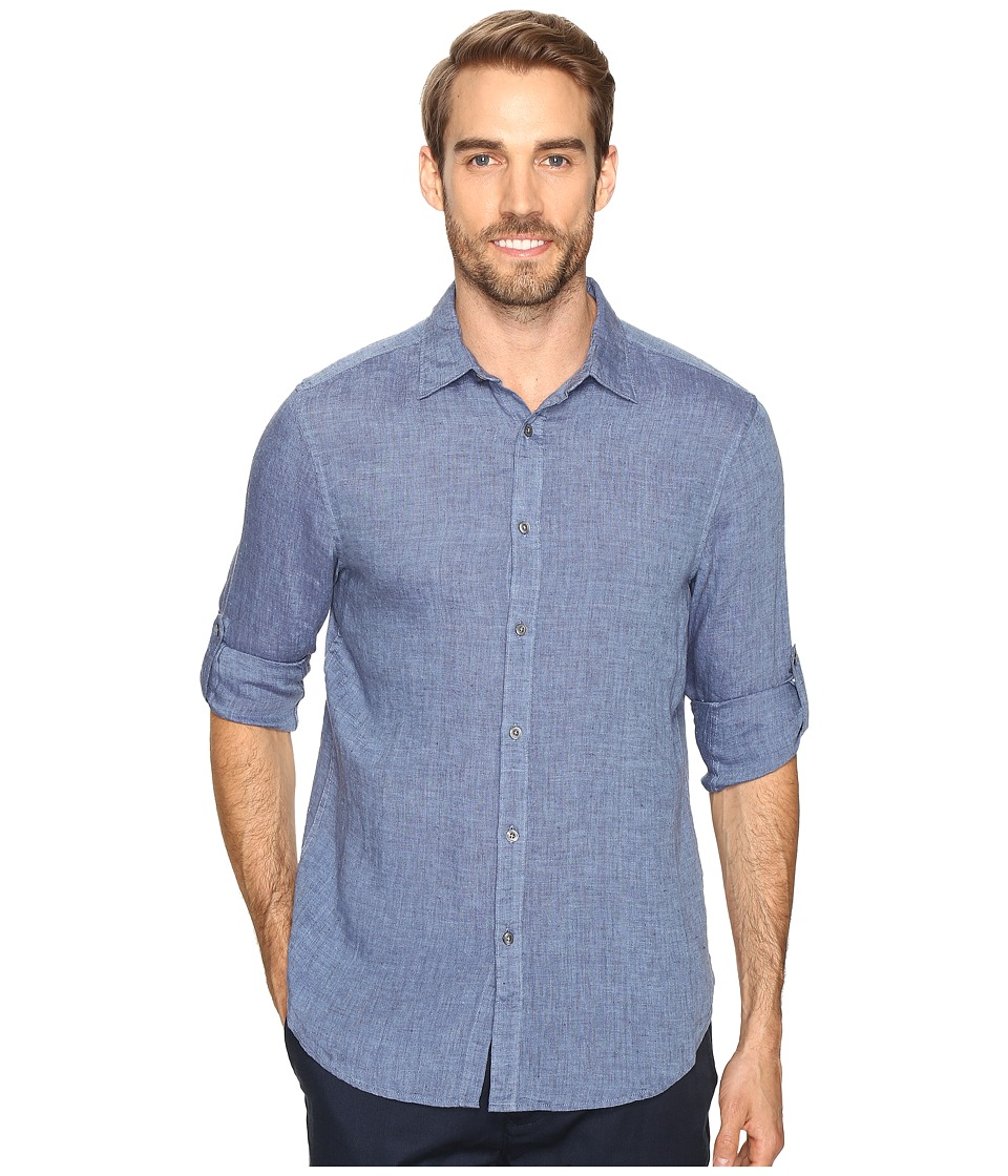 Perry Ellis - Rolled Sleeve Solid Linen Shirt (Delft) Mens Clothing