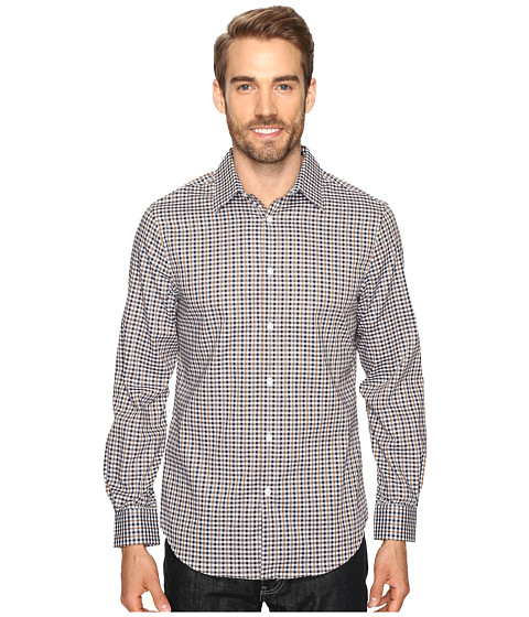 Perry Ellis Checkered Dobby Shirt - Otter