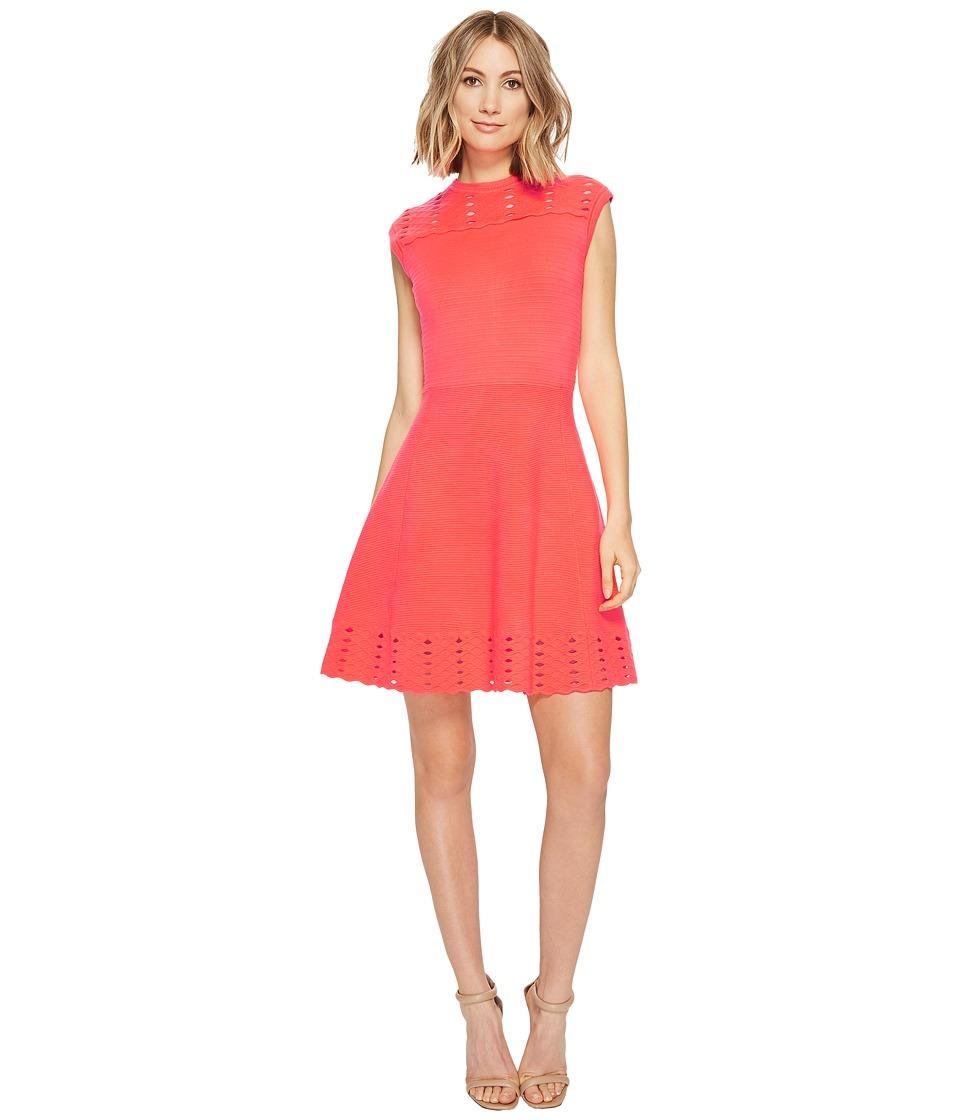 Ted Baker Zaralie Jacquard Panel Skater Dress (Mid Orange) Women
