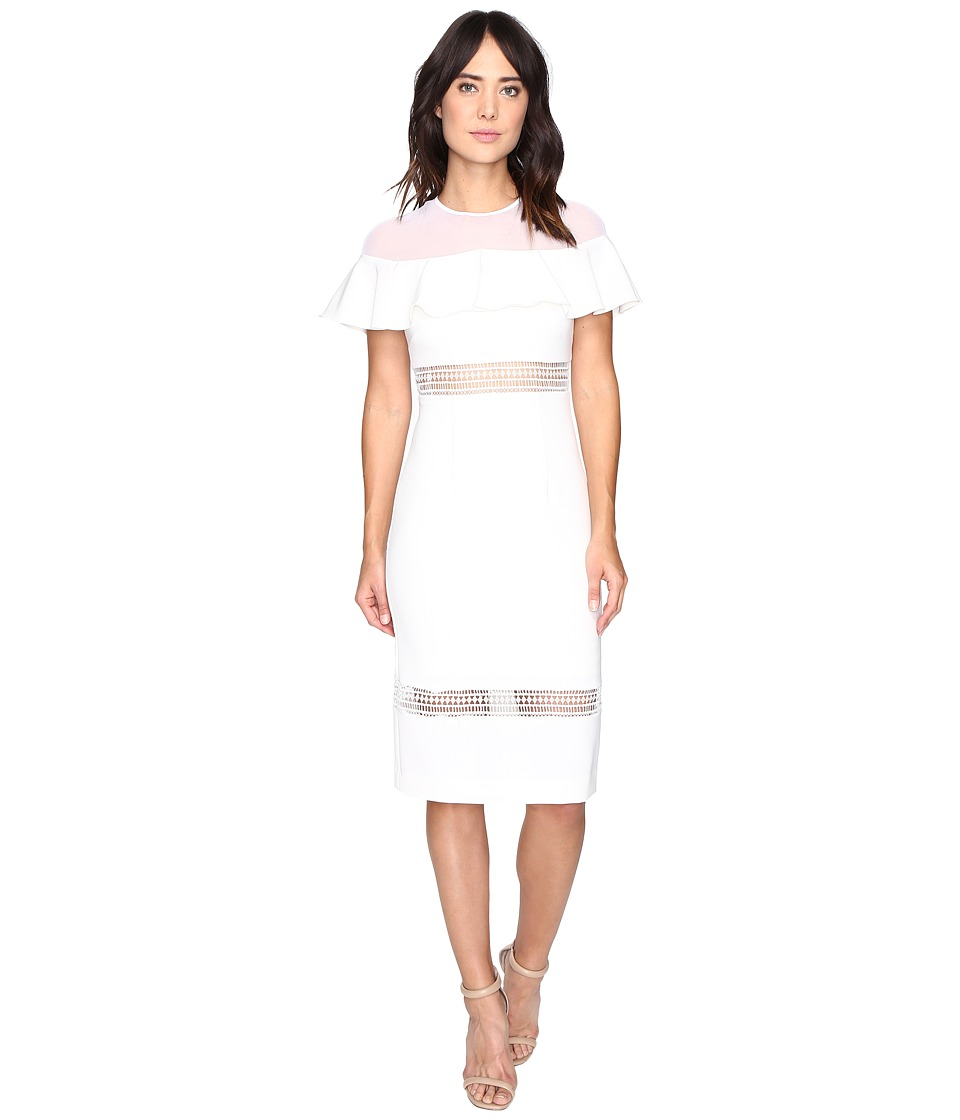 Nicole Miller Helena Flutter Dress (White) Women
