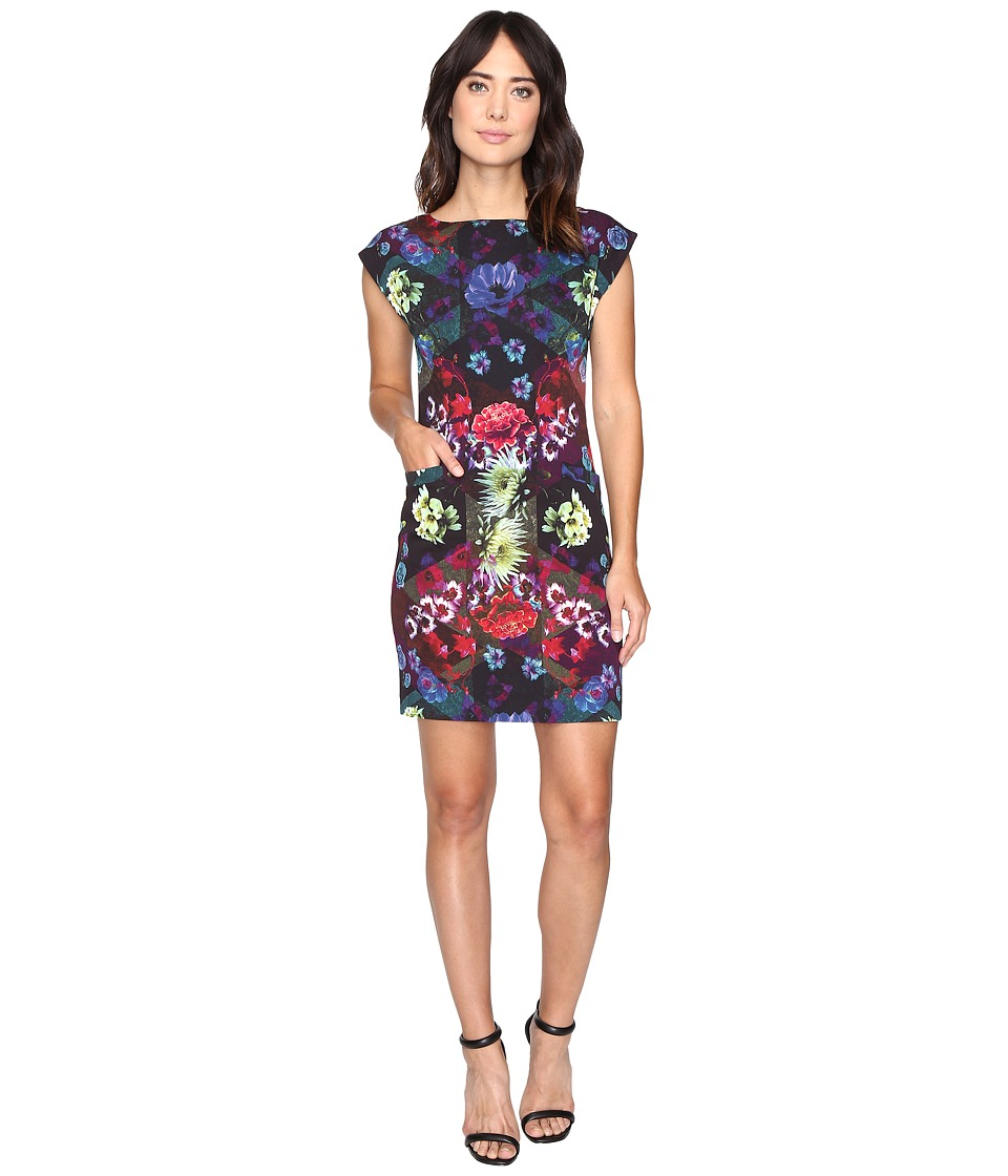 Nicole Miller Florescent Florals Shift Dress (Multi) Women