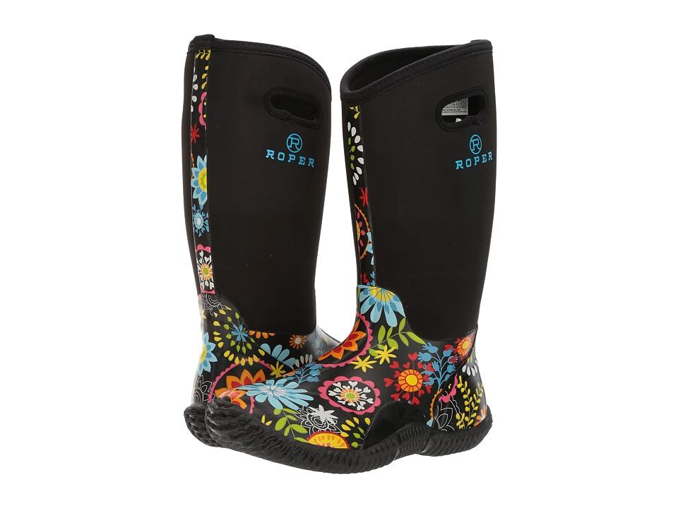 Roper Flower Garden (Printed Floral Vamp/Black Neoprene Shaft) Cowboy Boots