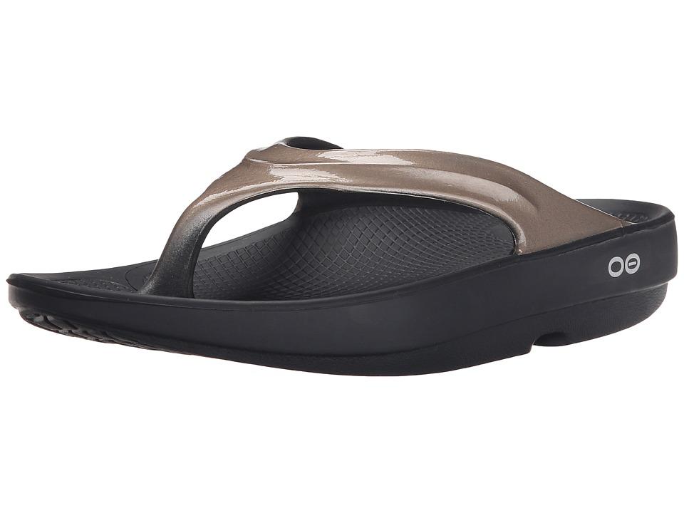 OOFOS OOlala Sandal (Black/Latte) Sandals