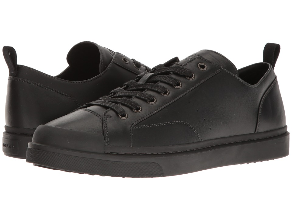 COACH - C114 Leather Lo Top Sneaker (Black/Black) Mens Lace up casual Shoes