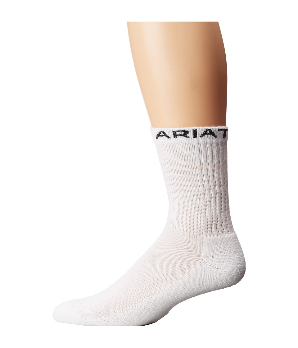 Image of Ariat - 1/2 Cushion Crew 3-Pack Socks (White) Men's Crew Cut Socks Shoes