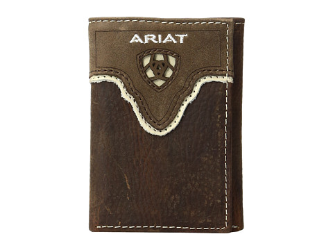 Ariat Shield Cut Out Overlay Trifold Wallet - Medium Brown Distressed/Ivory