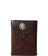 Ariat - Overlay Scroll Concho Croc Embossed Trifold Wallet