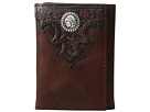 Ariat Overlay Scroll Concho Croc Embossed Trifold Wallet