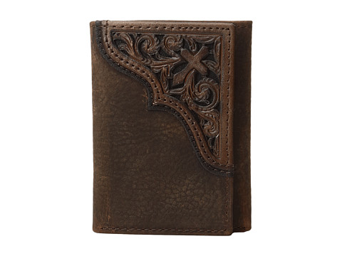 Ariat Scroll Cross Corner Trifold Wallet - Medium Brown Distressed