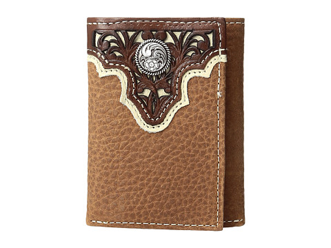 Ariat Ivory Overlay Concho Trifold Wallet - Tan