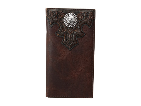 Ariat Overlay Scroll Concho Croc Embossed Rodeo Wallet - Brown
