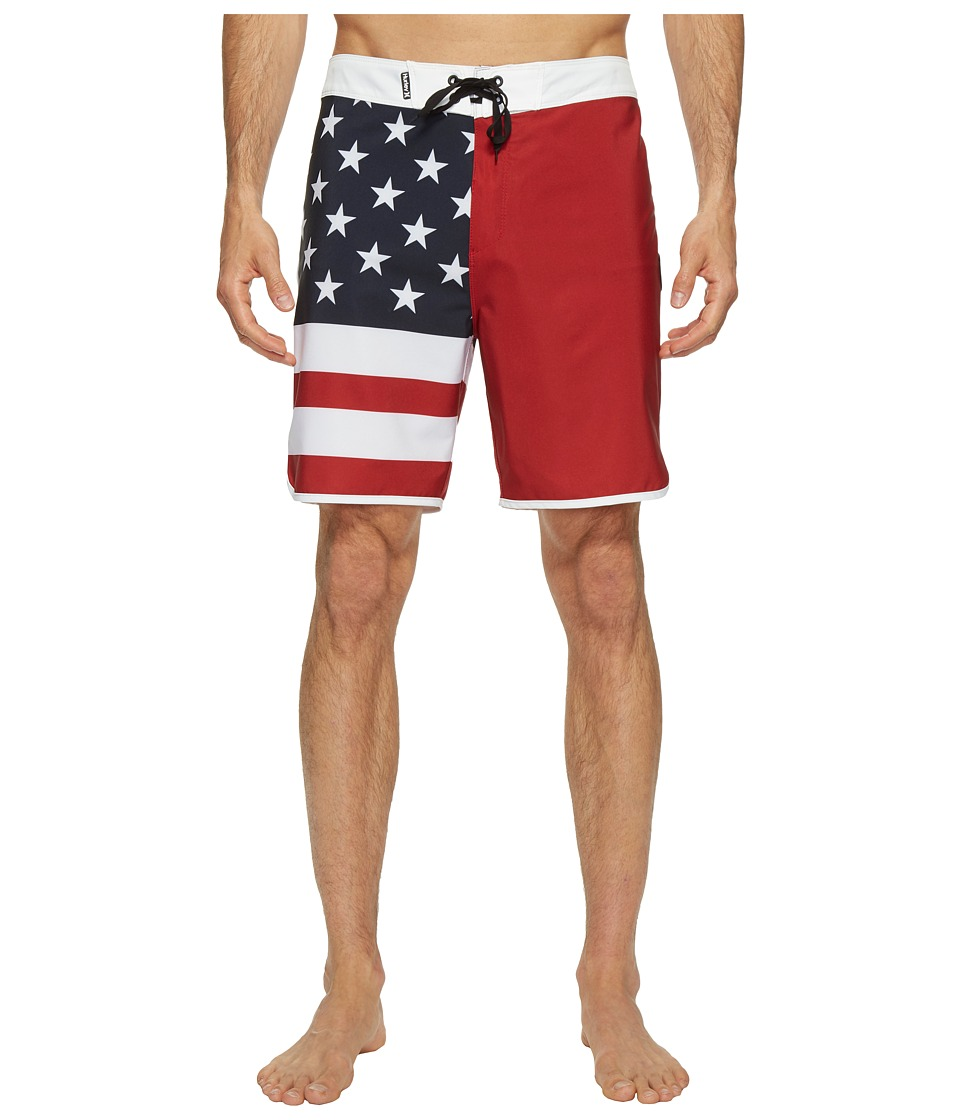 Hurley Phantom Block Party USA 19 Boardshorts (Gym Red) Men