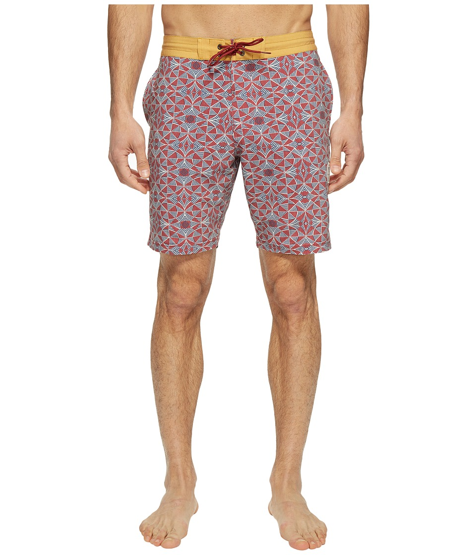 VISSLA Trailer Bay Washed Four-Way Stretch Boardshorts 18.5 (Pomegranate Red) Men