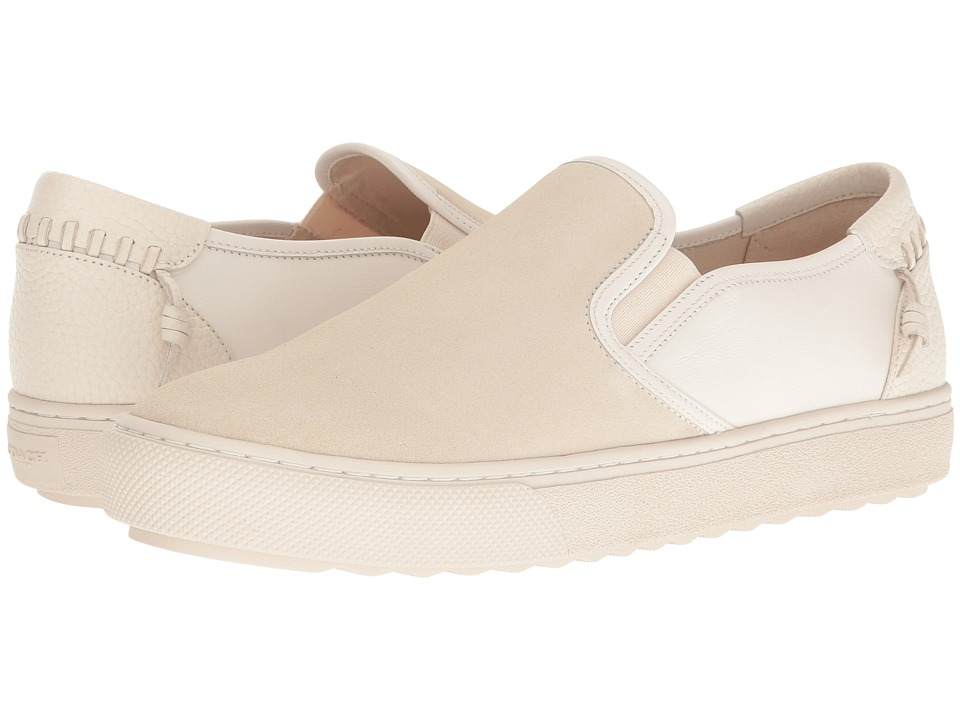 COACH - C115 Leather Suede Slip-On Sneaker (Chalk/White) Mens Shoes
