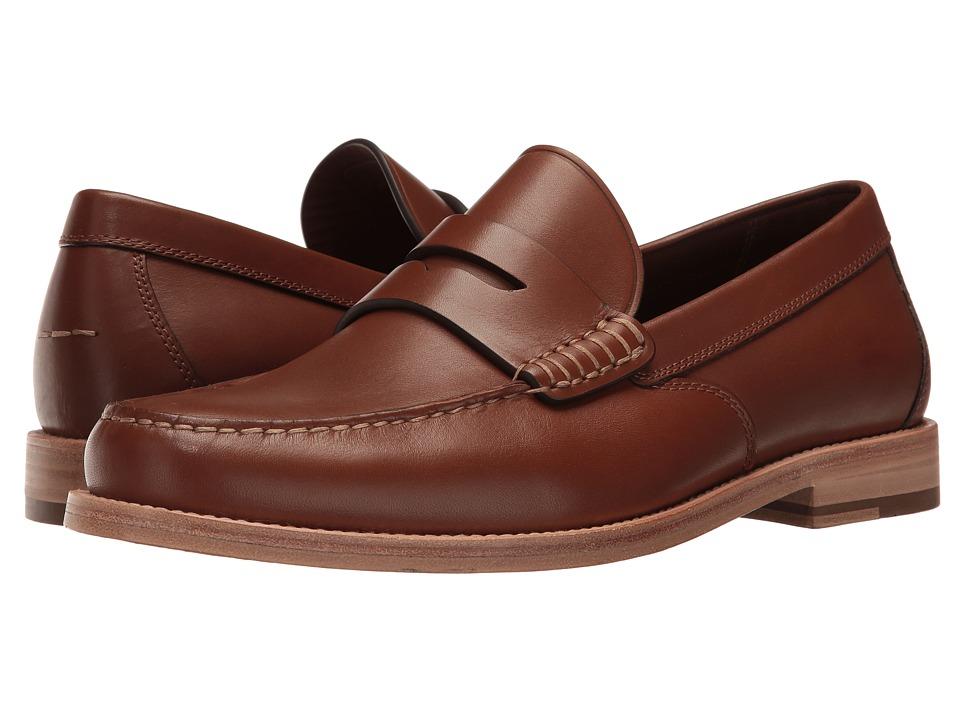 COACH - Manhattan Leather Loafer (Dark Saddle) Mens Slip on  Shoes