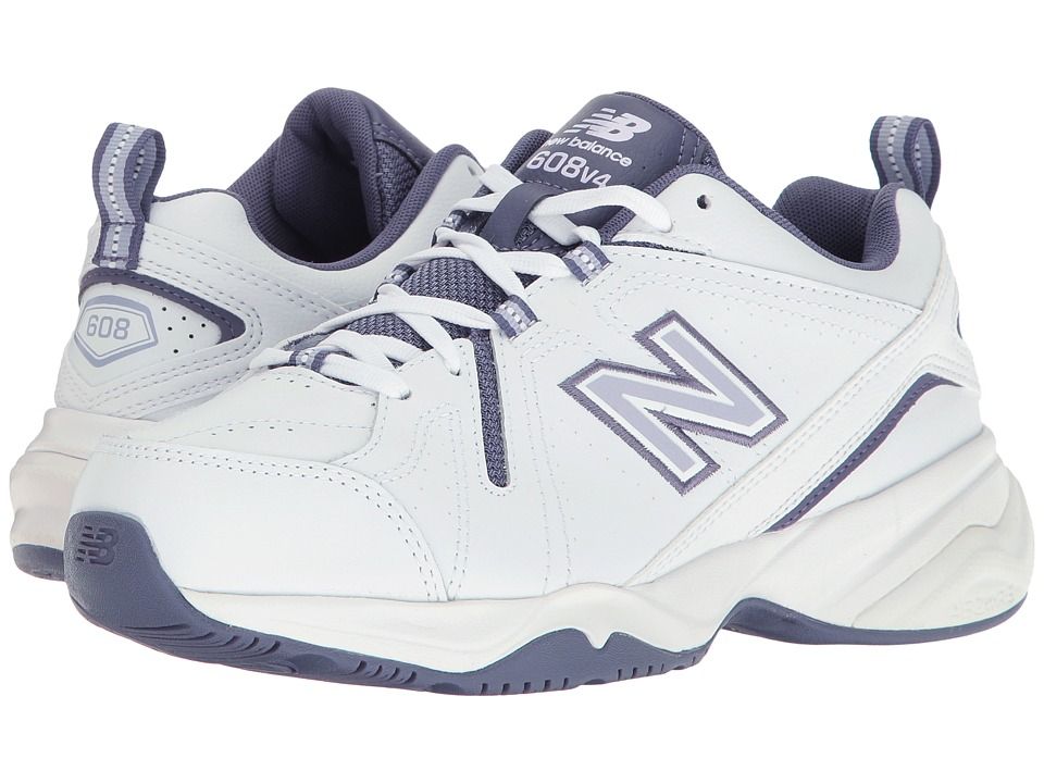 New Balance - WX608v4 (White/Purple) Womens Walking Shoes