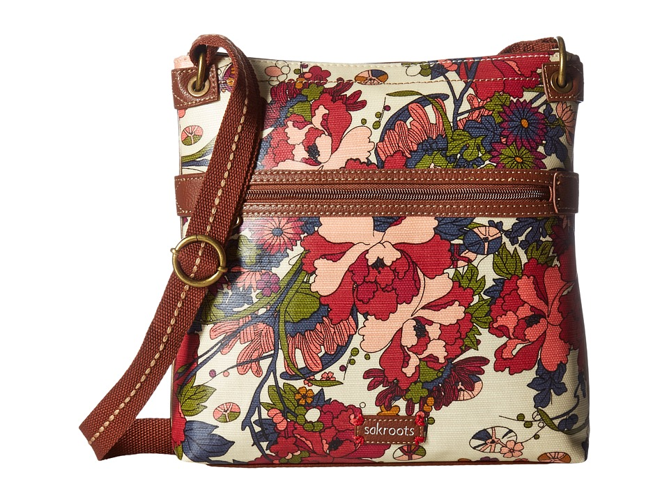 Sakroots Artist Circle Crossbody (Cream Flower Power) Cross Body Handbags