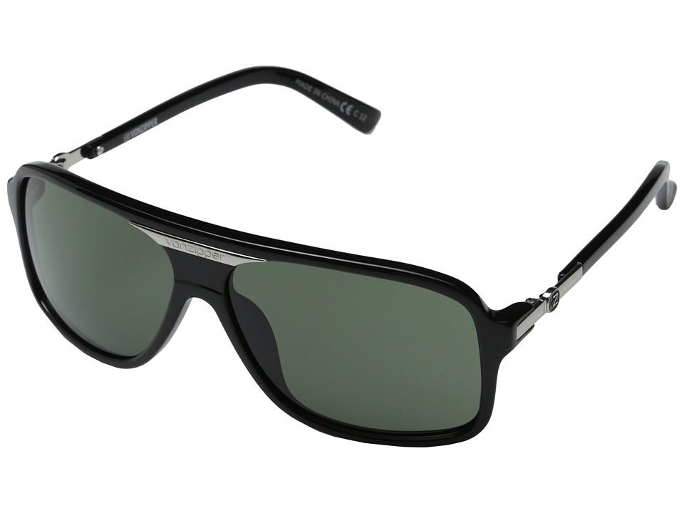 VonZipper Stache (Black Gloss/Grey Lens) Sport Sunglasses