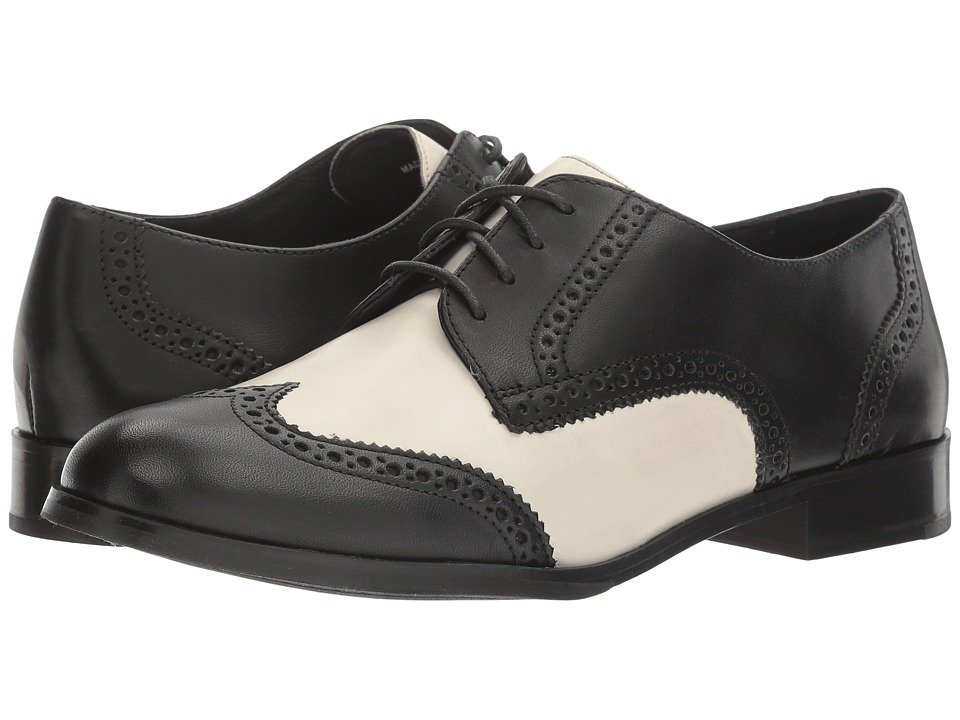 Saddle Shoes History Cole Haan - Jagger Wing Oxford Black LeatherIvory Leather Womens Shoes $200.00 AT vintagedancer.com