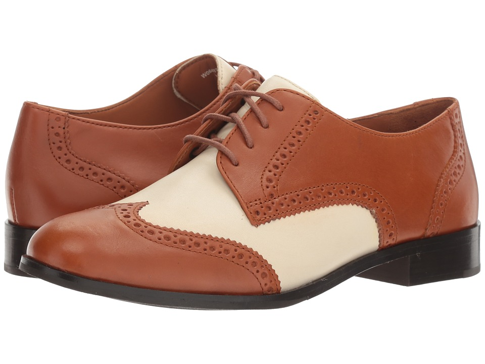 Saddle Shoes History Cole Haan - Jagger Wing Oxford British Tan LeatherIvory Leather Womens Shoes $200.00 AT vintagedancer.com