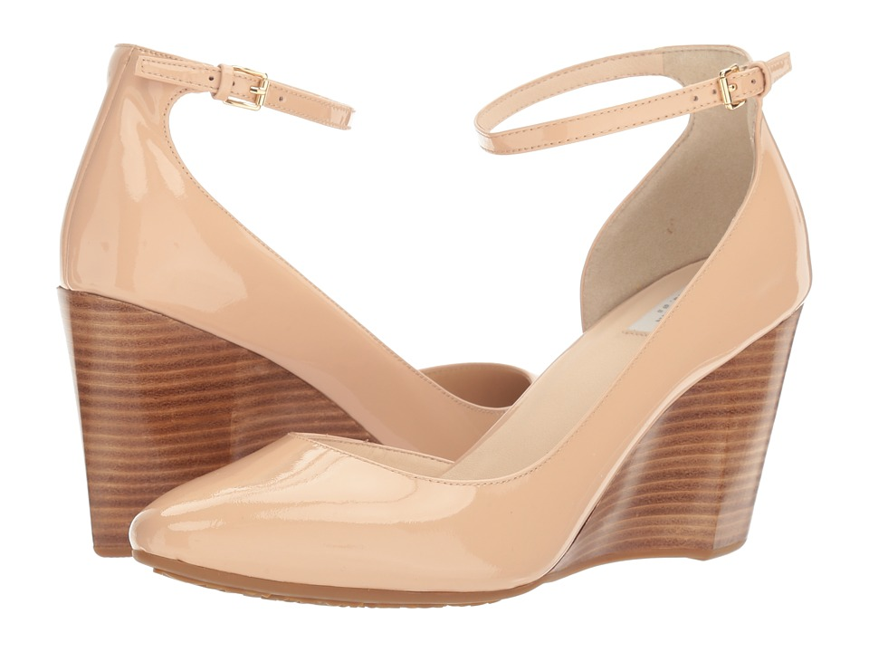 Cole Haan Lacey Ankle Strap Wedge 85mm (Nude Patent) Women's Wedge Shoes