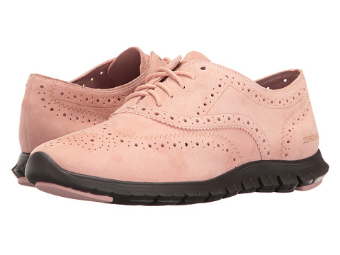 Cole Haan Zerogrand Wing Oxford Open Hole - Silver/Pink Open Hole Suede/Pavement