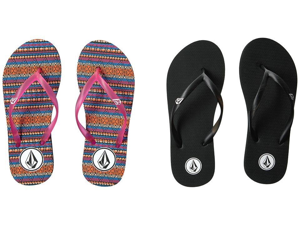 Volcom Kids Rocking Sandal 2-Pack (Little Kid/Big Kid) (Black/White/Firecracker) Girls Shoes