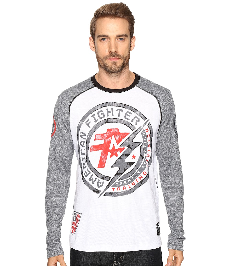 Image of American Fighter - Allen Artisan Long Sleeve Thermal (White/Heather Grey) Men's Long Sleeve Pullover