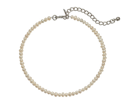 Kenneth Jay Lane White Freshwater Pearl Choker with Rhodium Clasp Necklace - White Pearl