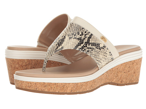 Cole Haan Cecily Grand Thong - Roccia Snake Print/Ivory Leather/Maple Sugar/Ivory/Cork