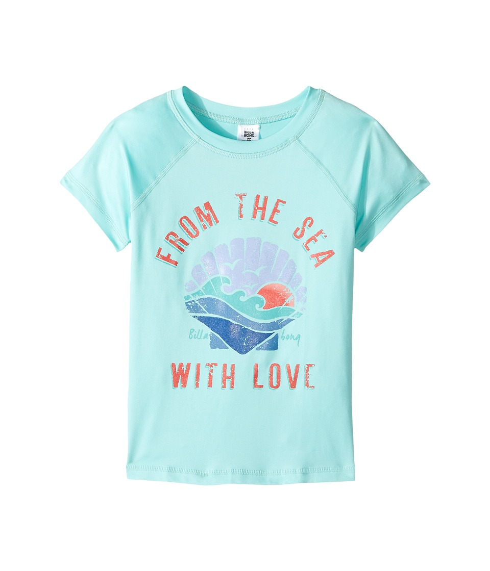 Billabong Kids Sol Searcher Short Sleeve Rashguard (Little Kids/Big Kids) (Beach Glass) Girl