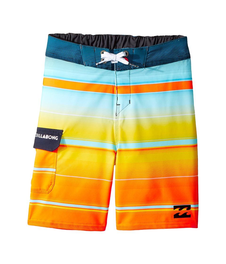 Billabong Kids All Day X Stripe Boardshorts (Toddler/Little Kids) (Tangerine) Boy