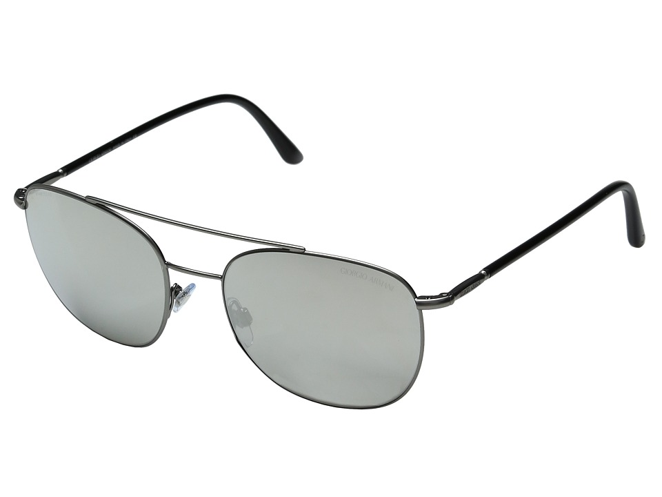 Giorgio Armani - 0AR6042 (Matte Gunmetal/Light Grey Silver Mirror) Fashion Sunglasses