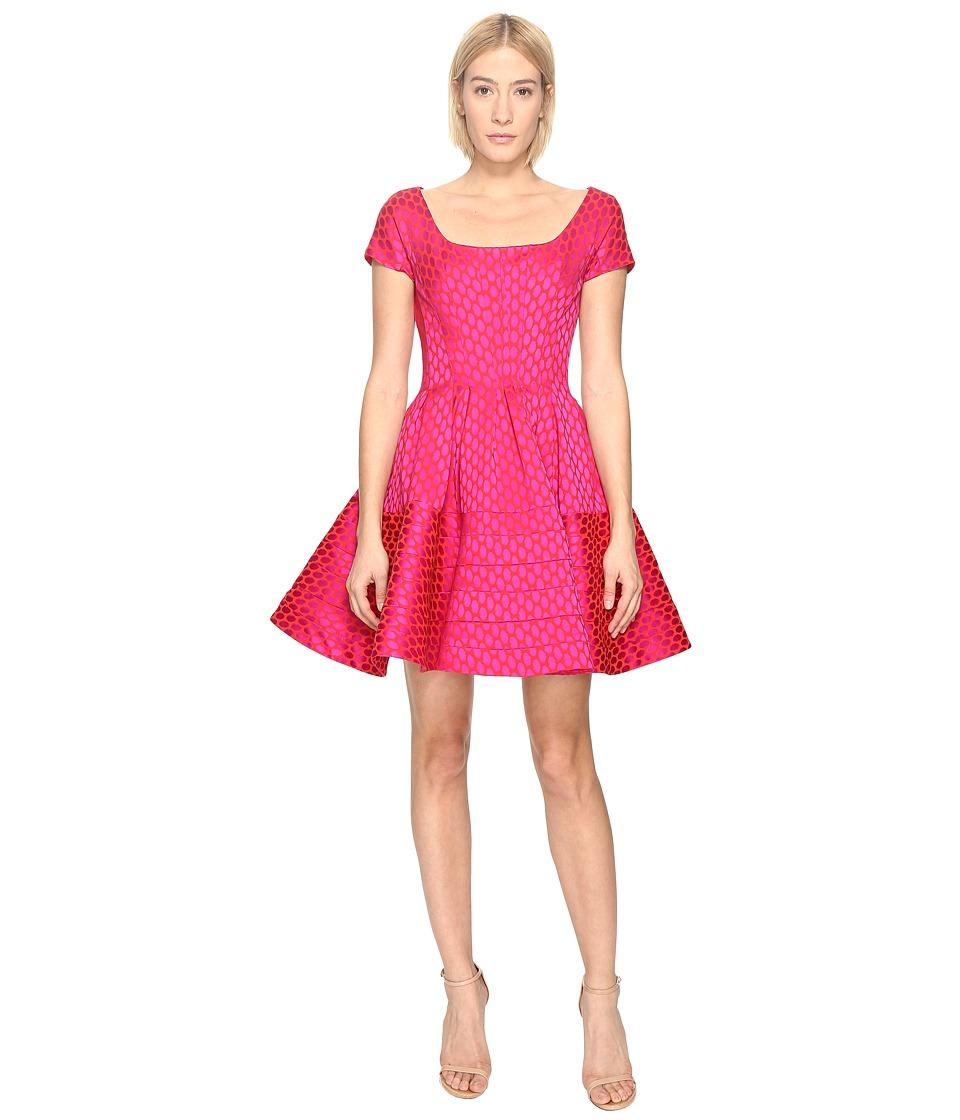 Zac Posen Party Jacquard Cap Sleeve Dress (Hibiscus/Fuchsia) Women